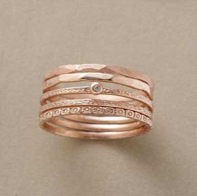 Thin Hammered Gold Stacking Ring