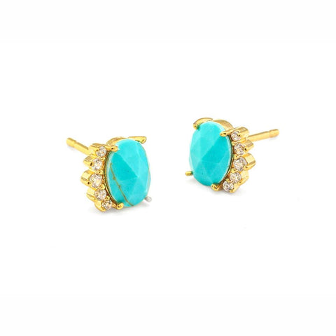 Turquoise Oval with CZ Studs