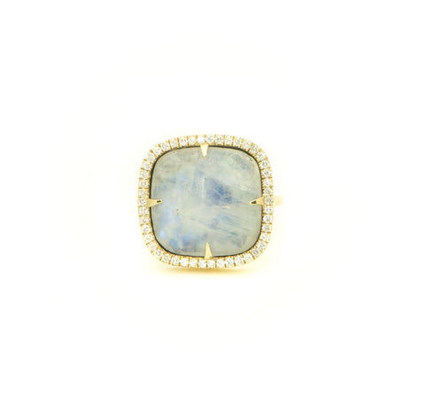 Lg Rainbow Moonstone & Pave Ring