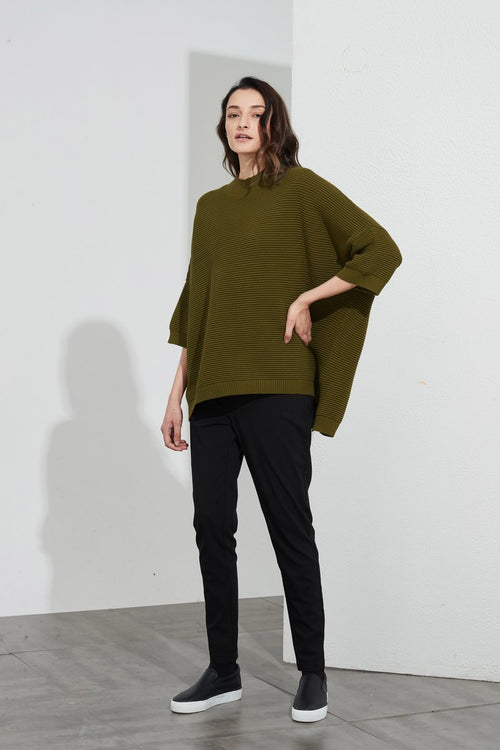 Cotton Rib Knit- Moss