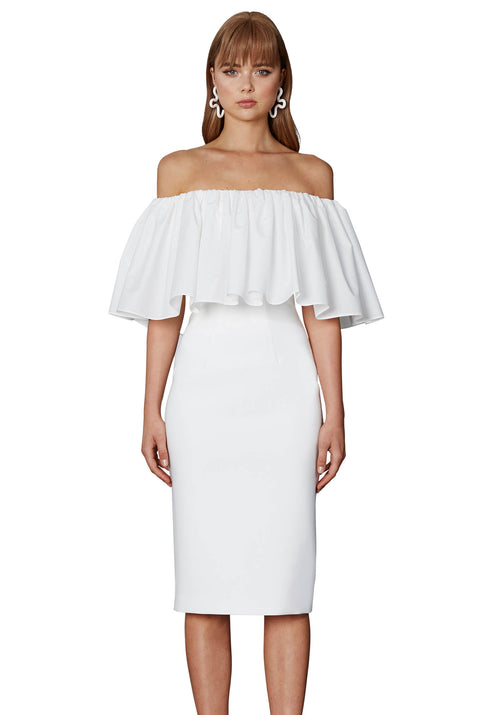 Cotton Gathered Off Shoulder Dress- White