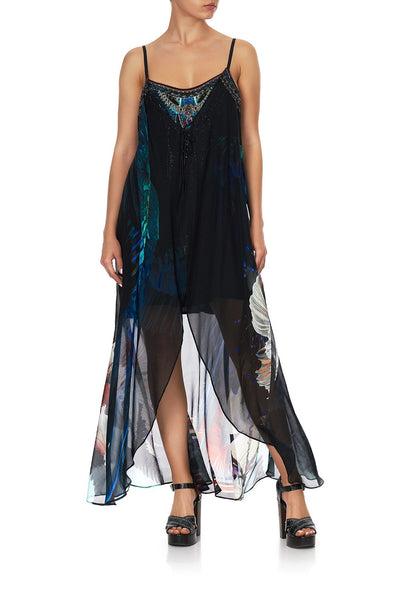 Mini Dress W/ Long Overlay- Night Flight