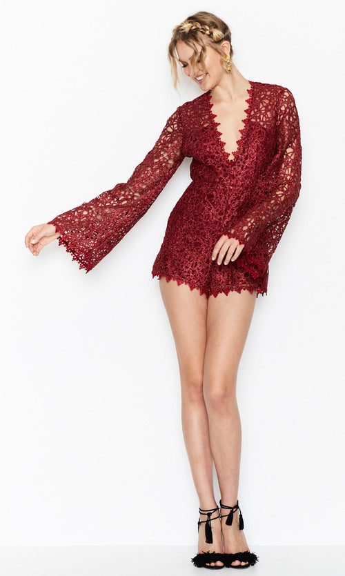 Gold Digger Playsuit- Wine