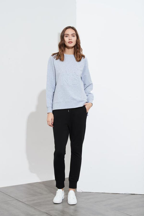 Embossed Sweat- Grey Marle