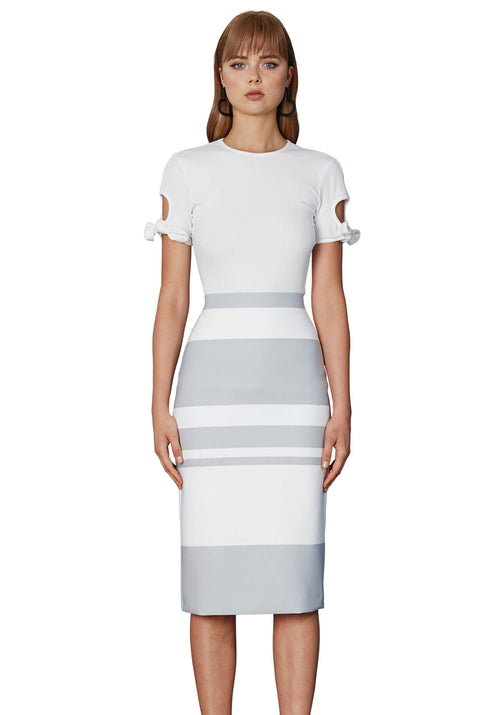 Stone Stripe Pencil Skirt- Stone/White