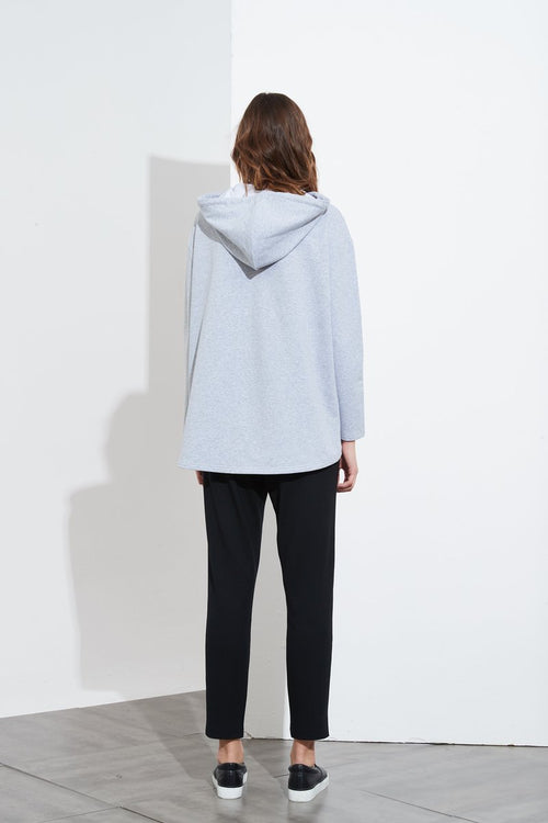 Embossed Hooded Sweat- Grey Marle