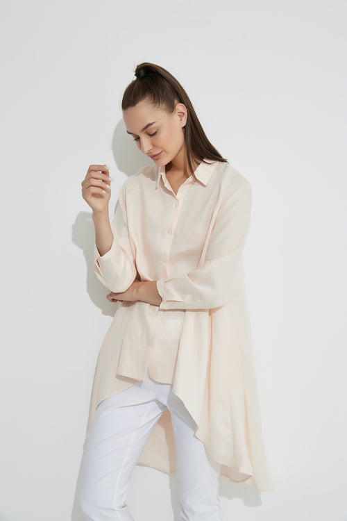 Drop Side Shirt- Pale Pink