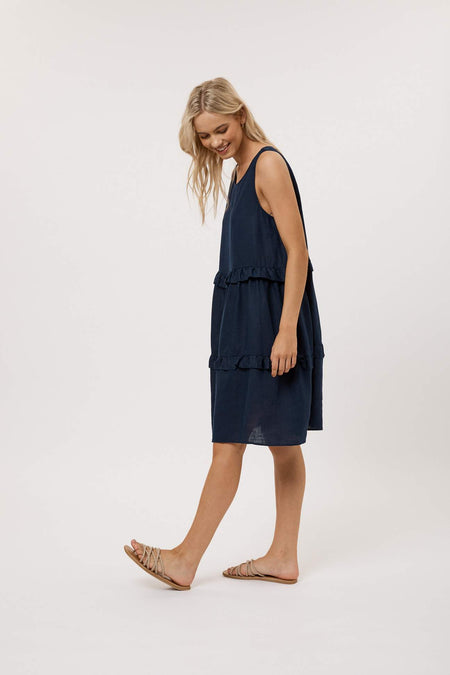 90s Silk Slip Dress- Pacific Blue