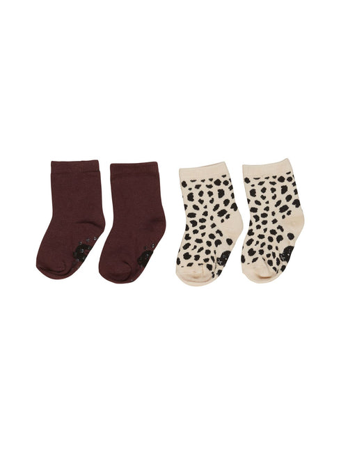 Animal Socks 2pk- Burgundy/ Sand