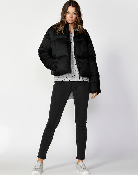 Dylan Cropped Puffer Jacket- Black