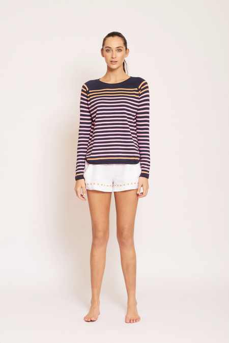 Side Check Top- Navy
