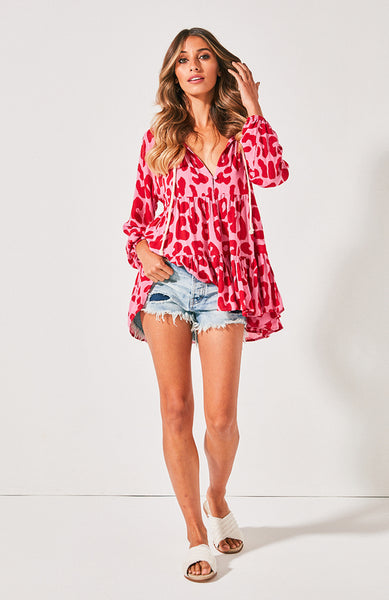 Cali Shirt Dress- Red Leopard