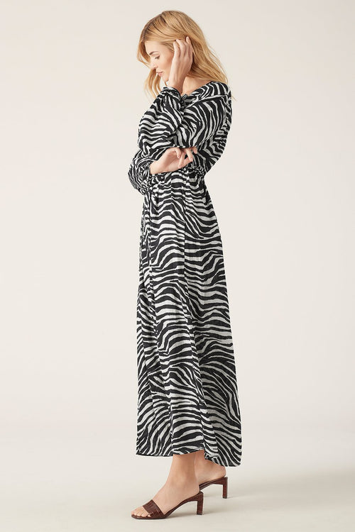 Zoya Longsleeve Maxi Dress- Zebra
