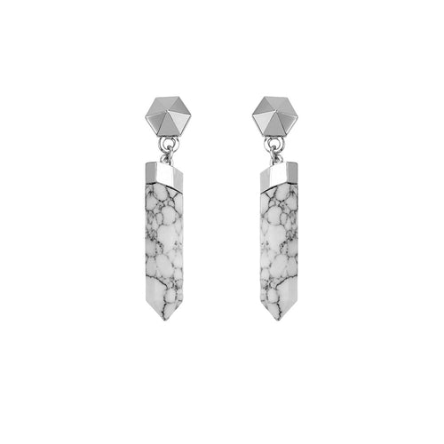 Dawn Exhale Drop Earring- White Howlite/ Silver