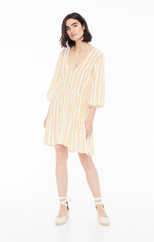 Le Gallion Dress- Azure Stripe