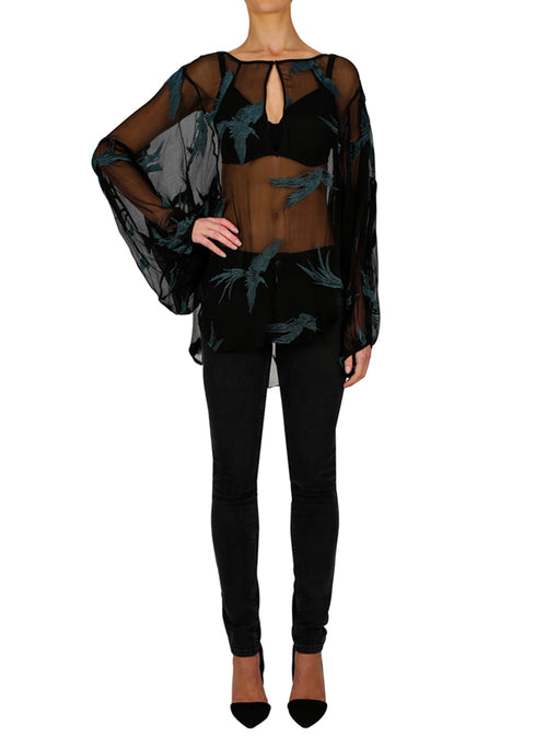 Fly Away Blouse- Black/ Teal