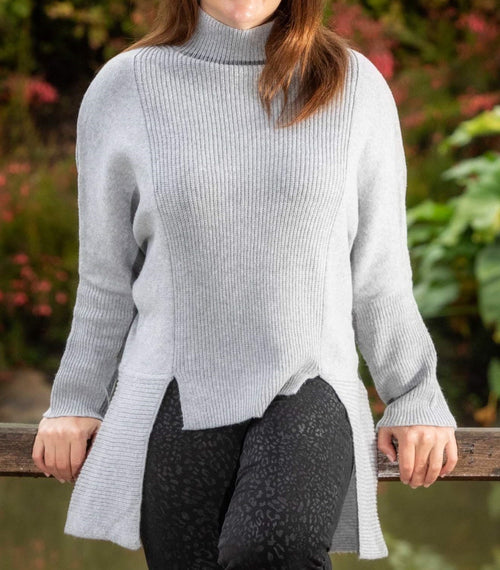 Hi-Lo Rib Knit- Grey