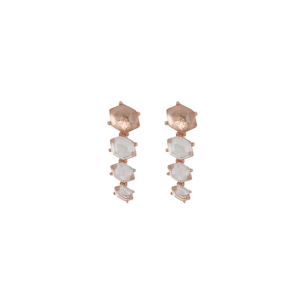 Harvest Moon Cuff Earrings- Crystal Quartz