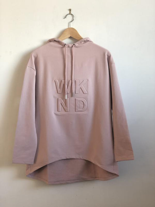 Embossed Hooded Sweat- Blush