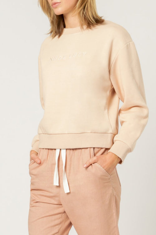 Nude Lucy Embr Slogan Sweat Blush
