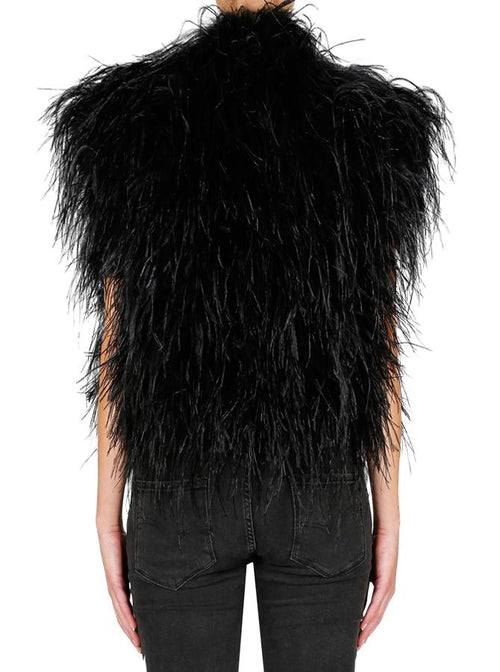 In Full Plume Vest- Black