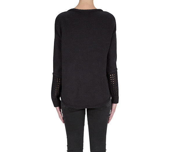 Inner Duality Panel Sweater- Black