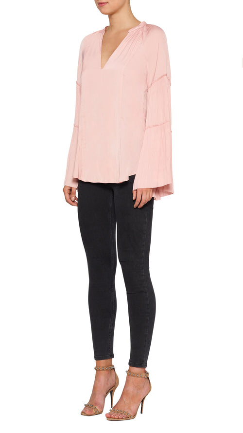 Look Twice Sunray Pleat Blouse- Blushing