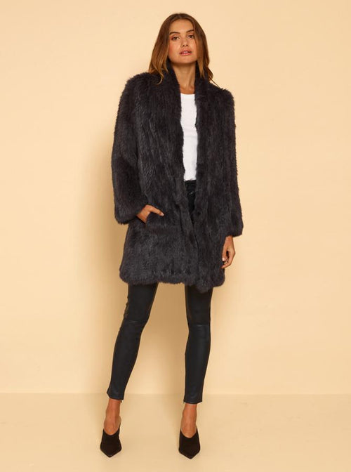 Lush Luxe Long Coat- Anthracite