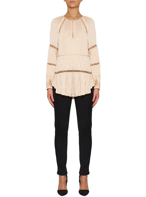 De Chine Wide Sleeve Blouse- Nude