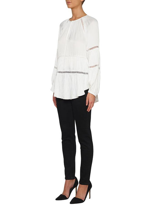 De Chine Wide Sleeve Blouse- White