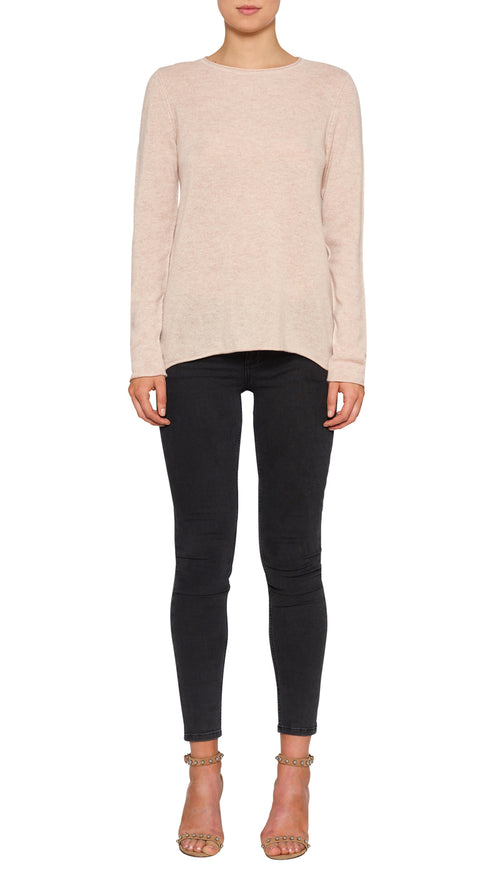 Superluxe Self Roll Crew Neck- Soft Rose