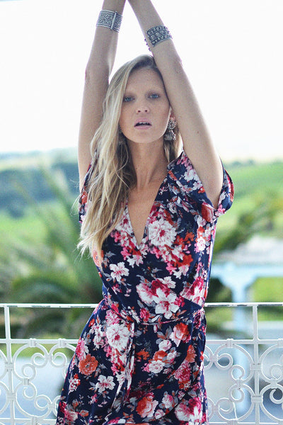 Hartland Wrap Mini Dress- Midnight Flora