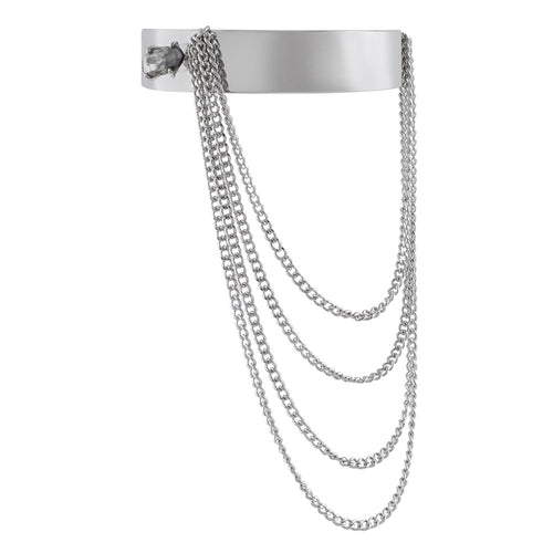 Midnight Prism Chain Bangle- Rhodium