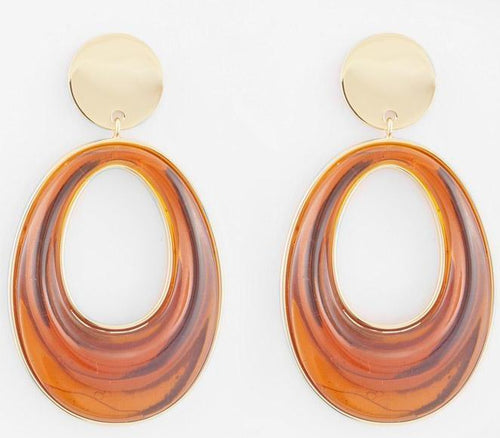 Eboney Earring- Amber Resin