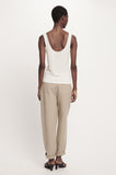 Ribbed Silk Tank- White