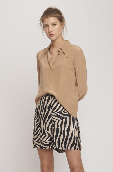 Sharp Collar Silk Shirt- Camel