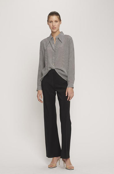 Sharp Collar Silk Shirt- Houndstooth