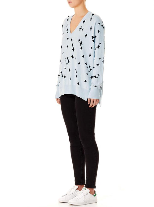 Sparkle V-Neck Sweater- Frost/ Black