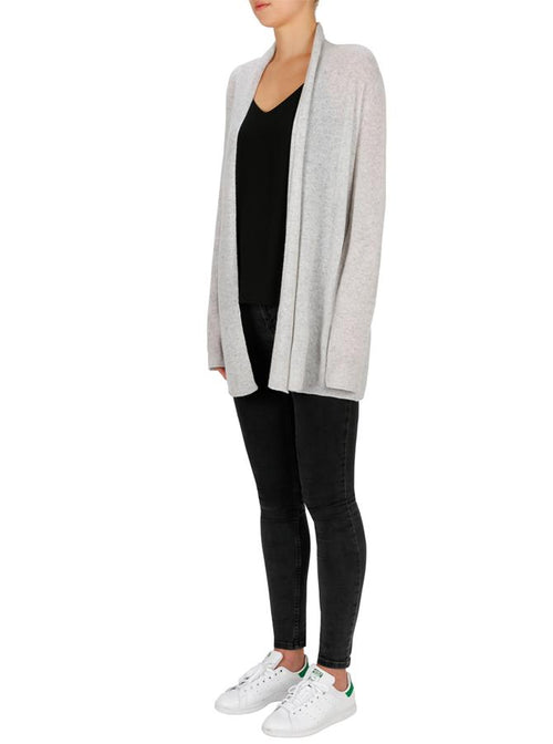 Superluxe Self Roll Neck Cardi- Grey Marle