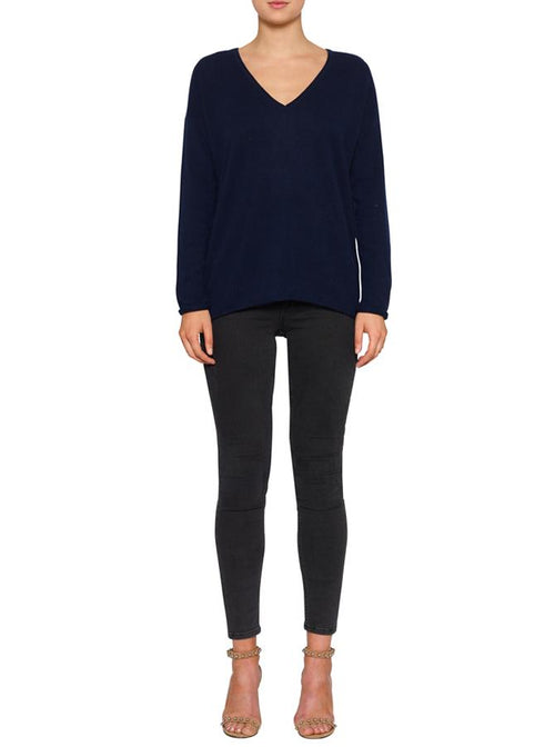 Superluxe Self Roll V-Neck- Navy