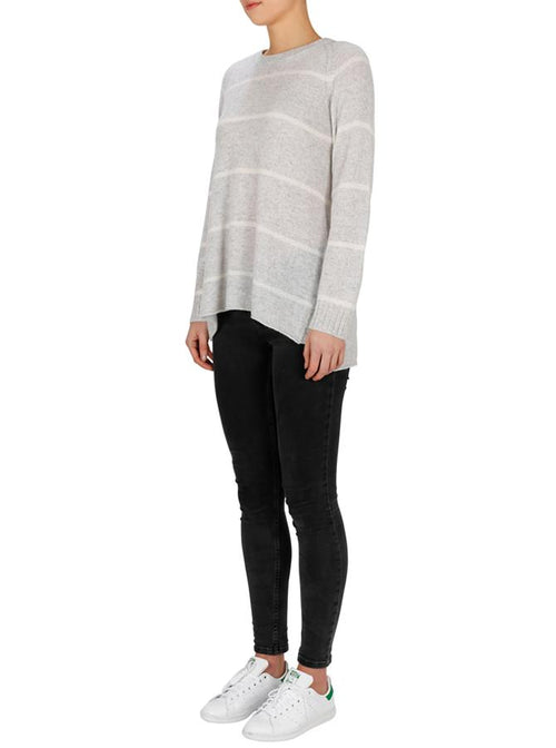 Superluxe Stripes Sweater- Grey Marle/ Ivory