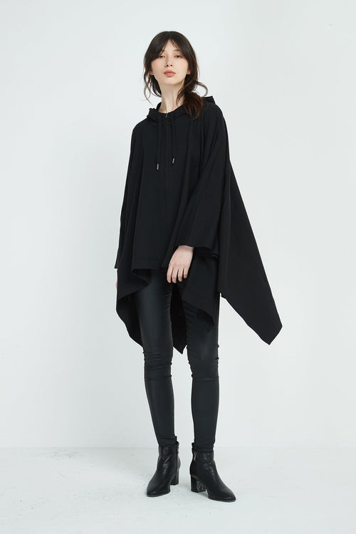Zip Up Cape- Black