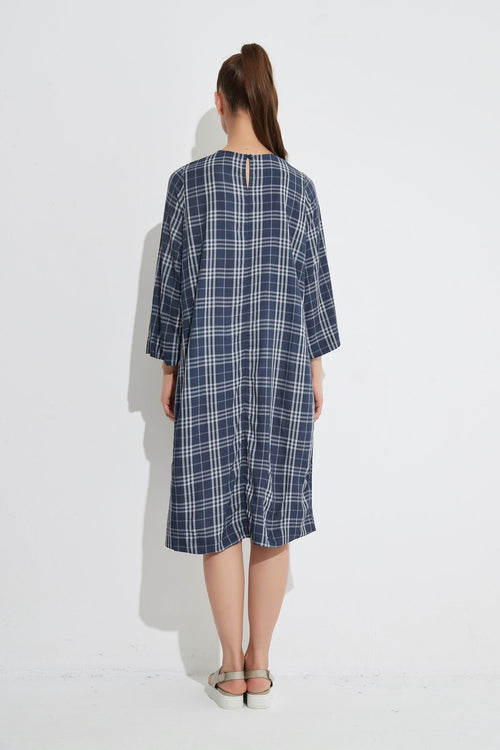 Half Sleeve Shift Dress- Navy Gingham