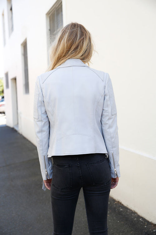 Leather Biker Jacket- Grey