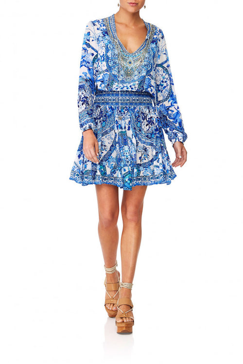 Shirred Relaxed Short Dress- Eternity's Empire