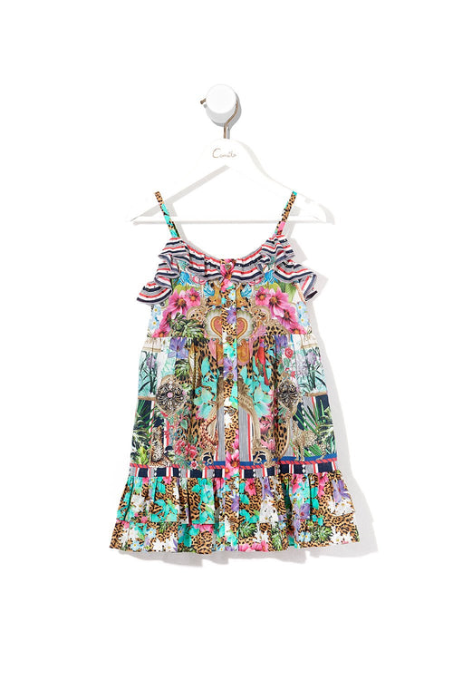 Kids Button Through Frill Dress- Champagne Coast