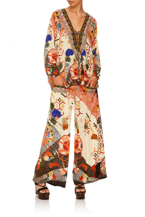 Wide Leg Trouser W/ Front Pockets- Kissing The Sun