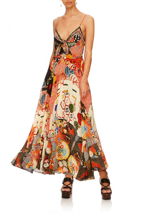 Long Dress W/ Tie Front- Kissing The Sun
