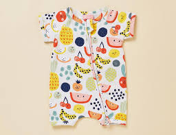Short Sleeve Zip Sleepsuit- Fruit Tingle