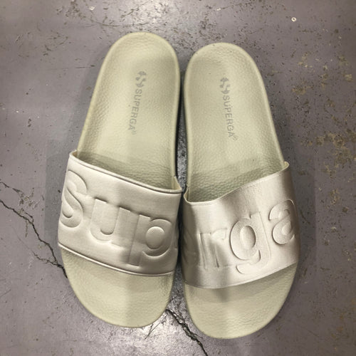 Satin Pool Slides- Beige